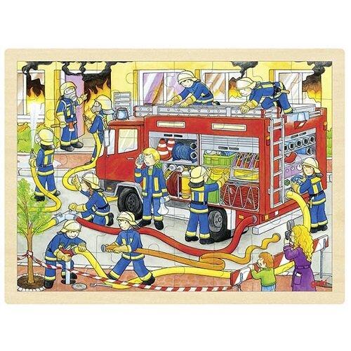 """Einlegepuzzle """"Feuerwehreinsatz"""" aus Holz"""