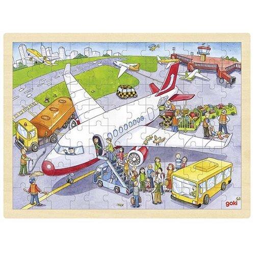 """Einlegepuzzle """"Auf dem Flughafen"""" aus Holz"""
